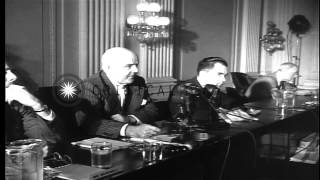 Louis B Mayer and Jack L Warner testify before HUAC  in Washington DC. HD Stock Footage