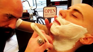 Old Style Italian Barber - Face Shave and Massage  - ASMR Binaural