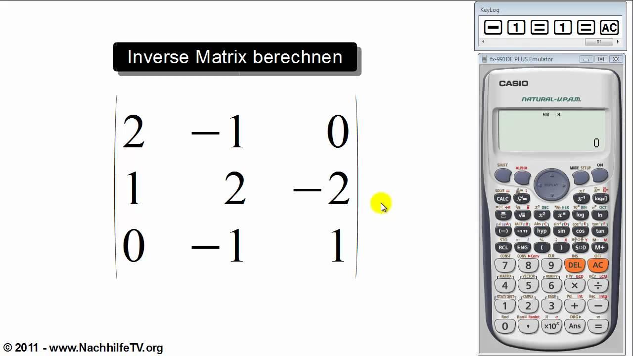 inverse matrix berechnen mit taschenrechner youtube. Black Bedroom Furniture Sets. Home Design Ideas