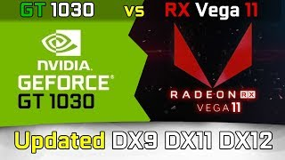 Vega 11 vs. GT 1030 (updated) DX9 DX11 DX12 Test in 9 Games (Ryzen 5 2400G)