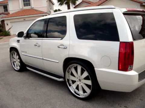 MC Design Whips 2008 White Diamond Cadillac Escalade 26's Video