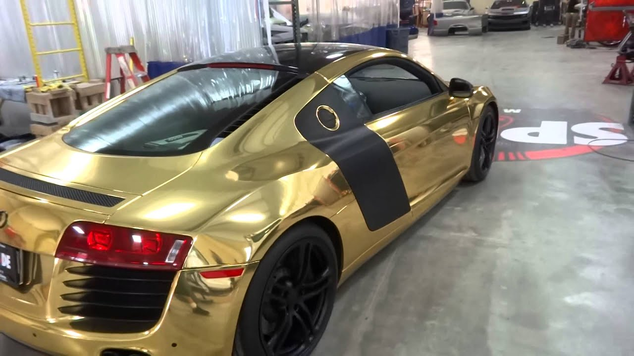 Gold Audi R8 Leaving - YouTube