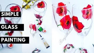 Easy Wine Glass Painting / How to use Pebeo vitrail paint on glass / DIY