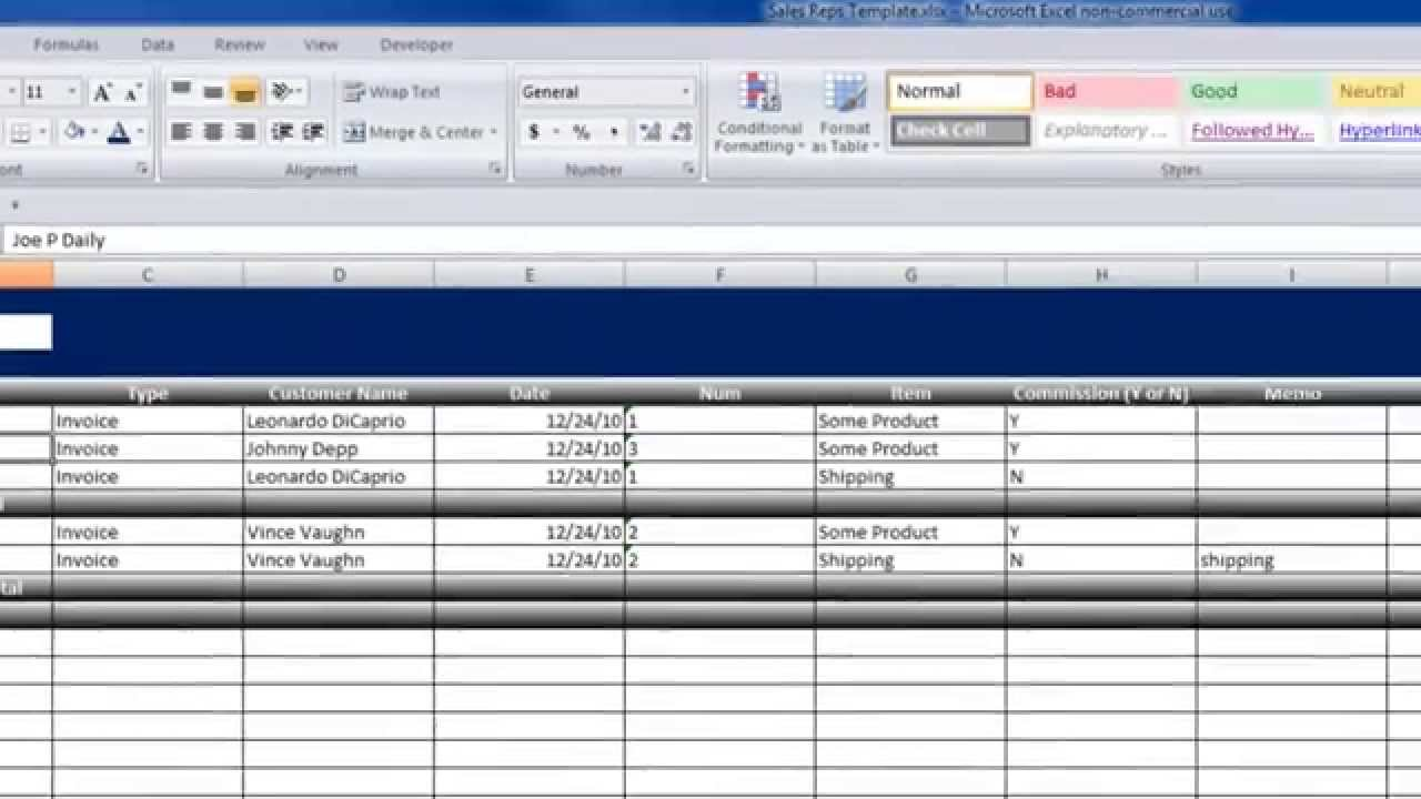 calculating sales commissions with quickbooks and excel