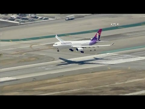 Hawaiian Airlines flight lands at LAX