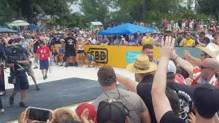 Confident Martins Licis celebrating his win with the fans @ The World's Strongest Man Finals 2019