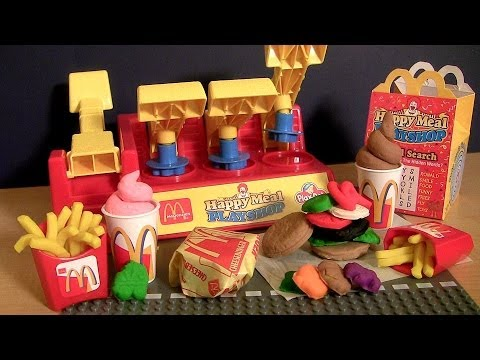 Play Doh McDonalds Happy Meal Ice Cream Playshop Playset Make Burgers IceCream French Fries