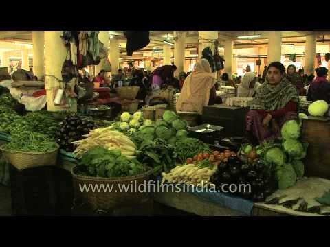 Fresh green vegetable stalls of Khwairamband Bazaar
