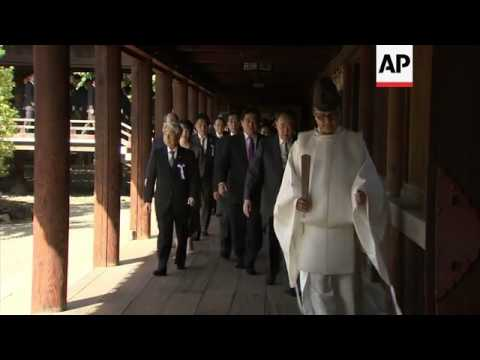 Japanese lawmakers visit shrine that honours dead including executed war criminals