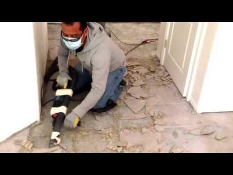 Removing ceramic floor tile