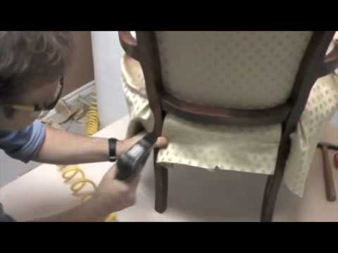 Upholstering a bergere chair youtube - How to reupholster a living room chair ...