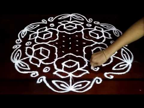Simple rose flowers kolam with 15 - 8 middle | chukkala muggulu with dots| rangoli design