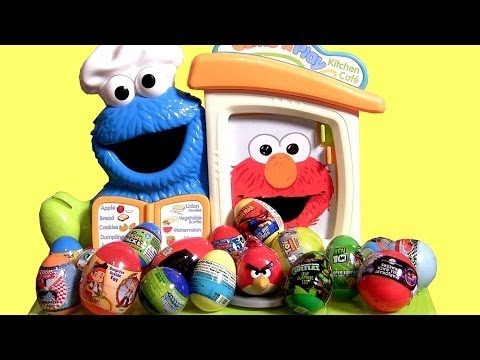Cookie Monster Kinder Surprise Eggs Cars SpongeBob Jake Sesame Street Kitchen Cafe Playset