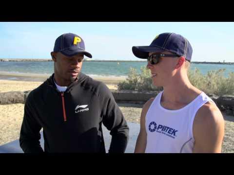 Asafa Powell mentors Tim Leathart