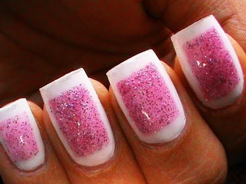 Framed Glitter Nails - Cute Glitter Polish Designs Sparkle Beginners Short Long Nail Art Tutorial