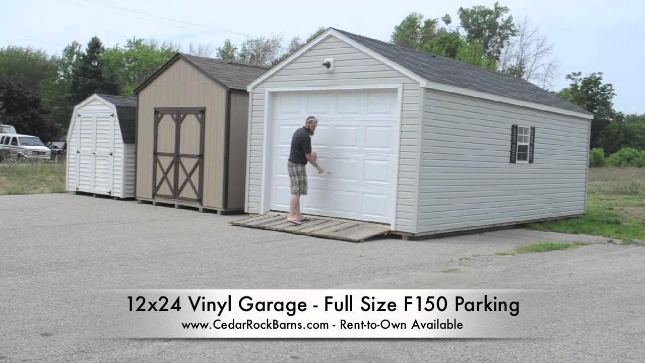 12x24 Garage F150 Parking - YouTube