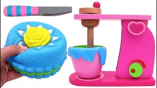 Squishy Sponge Cake and Mixer Playset for Children Learn Colors