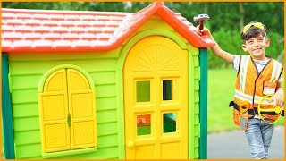 Jason Pretend Play Builds a Playhouse for Kids, Funny Video