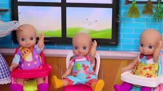 Play with Barbie Girl and Baby Doll Babysitter Toys!
