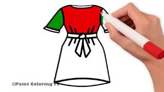 Barbie Dress Coloring Pages   Art Colors For Kids   Draw Pretty Dress   Paint Coloring TV