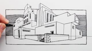 How to Draw Buildings in 2-Point Perspective: Pen Drawing