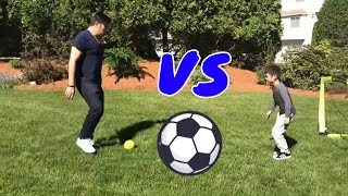 Son vs Daddy Soccer/Football Challenge