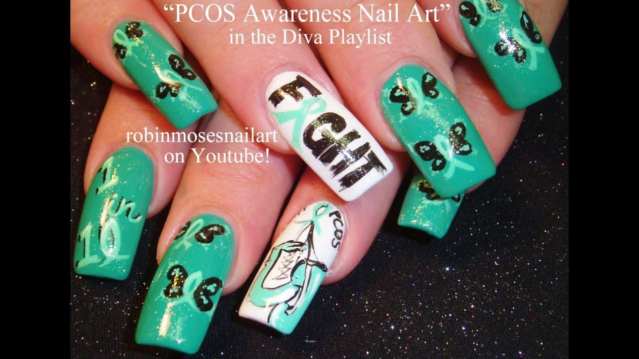 Awareness Ribbon Nail Art Awareness Nail Art | Teal