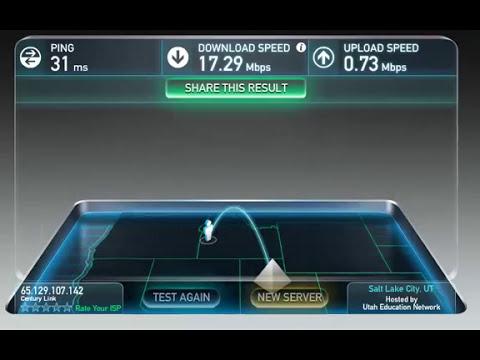 CenturyLink 20Mbps DSL Speed Test