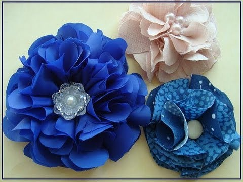Beautiful blue silky flower, how to make a fabric flower