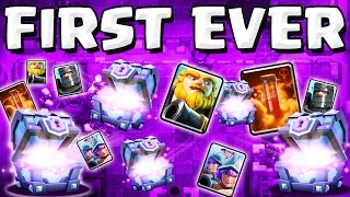 first ever SUPER MAGICAL CHEST opening :: Clash Royale :: SO MANY CARDS!!!
