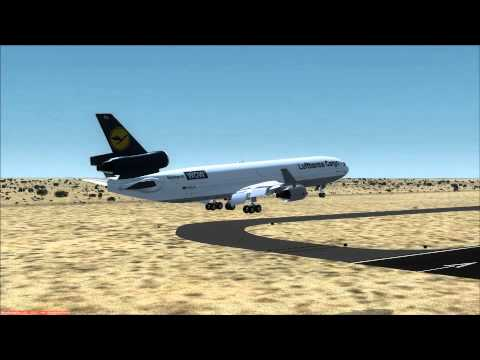Beautiful Landing at Sharjah UAE Lufthansa Cargo MD-11