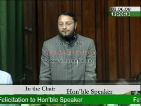 Asaduddin Owaisi's Speech on felicitation to Hon'ble Speaker Smt. Meira Kumar
