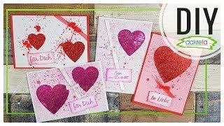 Glitzer Grußkarten Valentinstag / Muttertag Papier basteln - Kartenbasteln DIY [Anleitung | deutsch]
