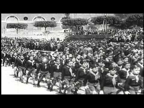 Italian Prime Minister Benito Mussolini's rise to power in 1922 and taking Italy ...HD Stock Footage