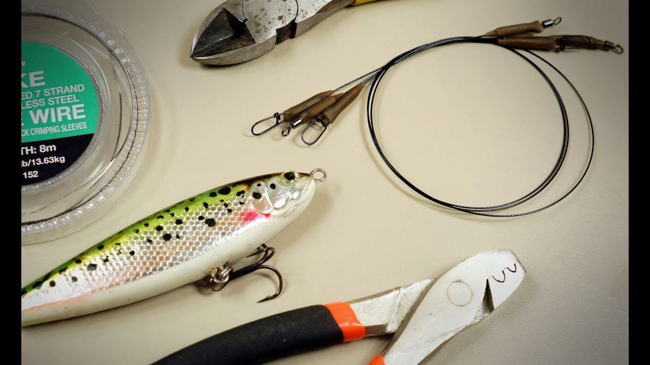 Making pike lure leaders traces with crimps youtube for How to make fishing leaders