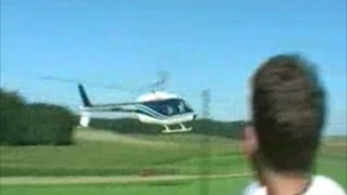 Helicopter Close Call in Stunt Flying Near Crash in Bell Jet Ranger at Airshow in Ohlsdorf Austria