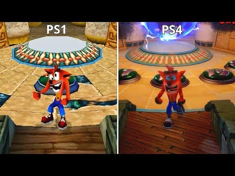 Crash Bandicoot N. Sane Trilogy Remaster PS4 vs PS1 Graphics Comparison (Tomb Wader Level)