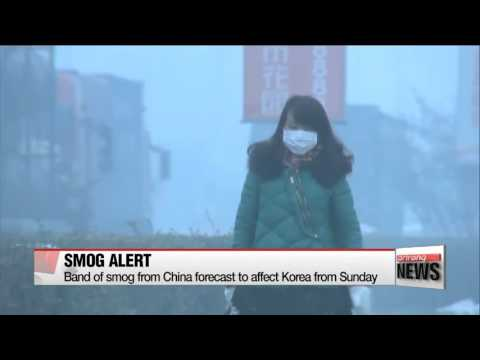 Band of smog from China forecast to affect Korea from Sunday   중국 동북지방 스모그 8일째…일