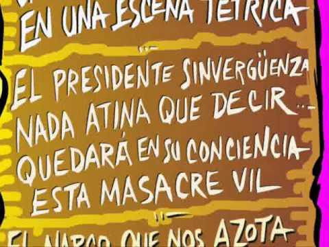 IV informe de gobierno Inmigrantes masacrados calavera caricatura