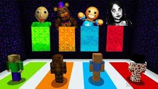 Minecraft PE : DO NOT CHOOSE THE WRONG DIMENSION! (Momo, Baldi's Basics, Kick The Buddy & FNAF)