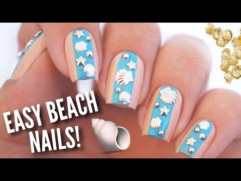 Easy Summer Beach Nail Art | DIY Nail Design Using Studs!