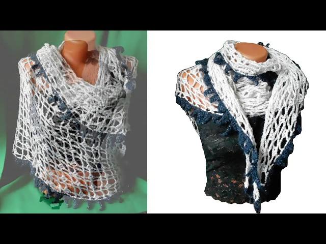 Ажурная шаль с каймой, вязание крючком