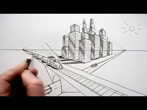 How To Draw In Perspective Road Railway Train City
