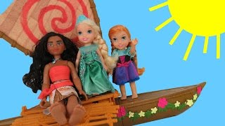MOANA meets queen ELSA !  Anna & Elsa toddlers SAIL and FALL off Moana