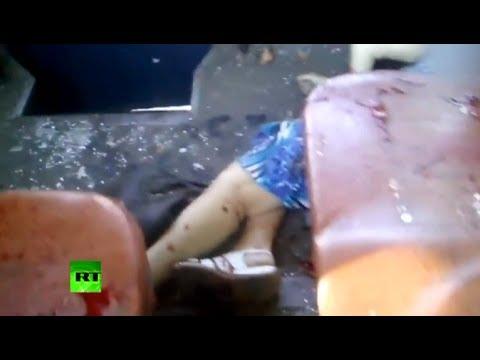 GRAPHIC: Bus, buildings blasted in Ukraine's Kramatorsk, at least 4 dead