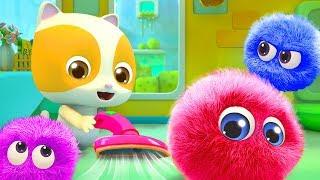 Baby Kitten Cleans the Dust | Cute Dust Song | Nursery Rhymes | Kids Songs | BabyBus