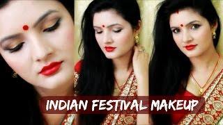 Durga Puja   Navratri   Diwali Makeup Tutorial for Saree- GRWM