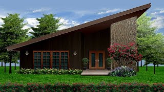 Warm Cozy Feel Slant Roof Tiny Cabin Cottage Home Digital Illustration   Small House Design Ideas