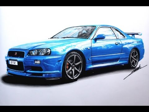 Nissan Skyline GTR R34 Speed Drawing by Roman Miah