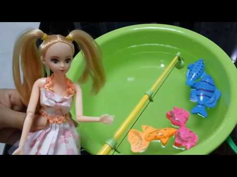 Baby Barbie Dolls Fishing Learn Colors Fishing Toys for Kids